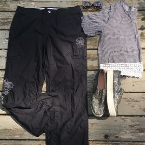 WHBM}• black embroidered wind pants